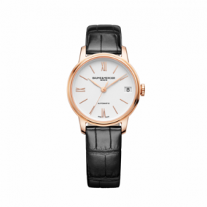 Baume & Mercier Ladies 18K Rose Gold Classima Automatic White Dial Strap Watch