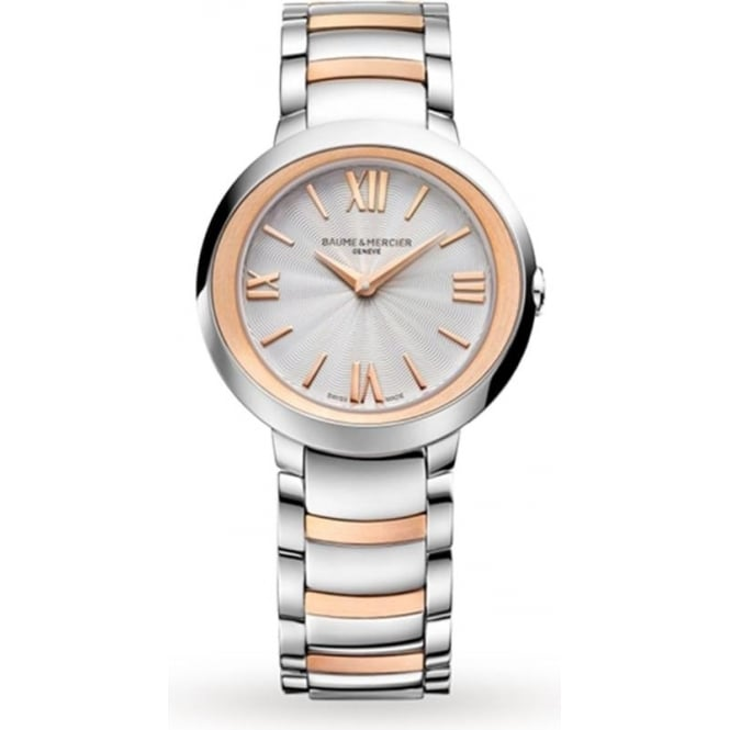 Baume & Mercier Promesse Steel & Rose Gold Silver Dial Bracelet Watch