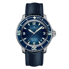 BlancPain Fifty Fathoms Automatic Blue Bezel / Blue Flinqué Dial Strap Watch