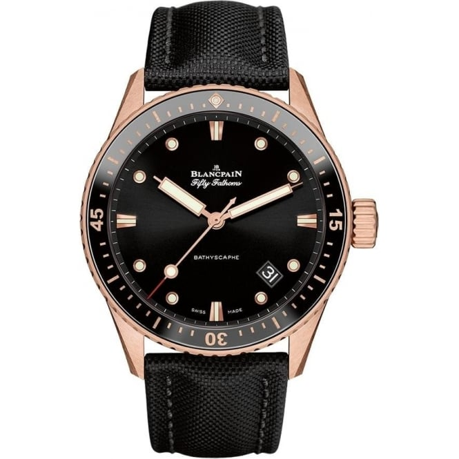 BlancPain Fifty Fathoms Bathyscaphe 18K Rose Gold Automatic Black Bezel / Black Dial Strap Watch