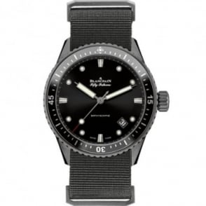BlancPain Fifty Fathoms Bathyscaphe Black Ceramic Automatic Black Bezel / Black Dial NATO Strap Watch