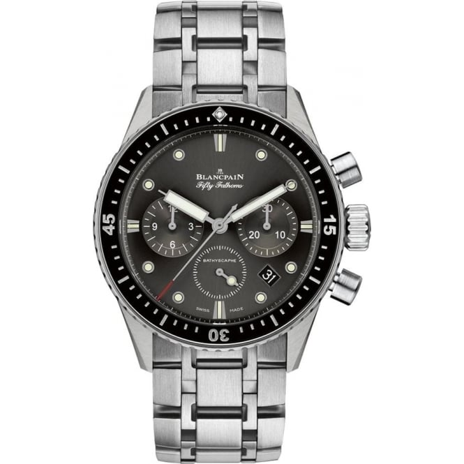 BlancPain Fifty Fathoms Bathyscaphe Flyback Chronograph Black Bezel / Grey Dial Bracelet Watch