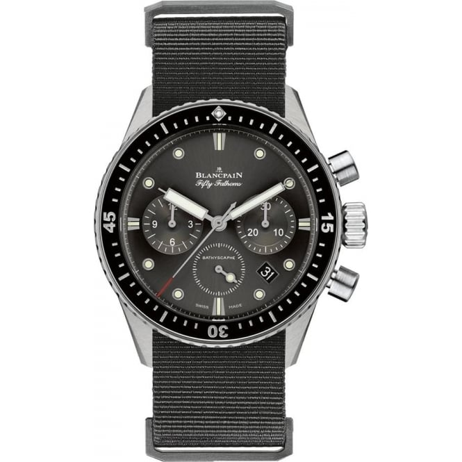 BlancPain Fifty Fathoms Bathyscaphe Flyback Chronograph Black Bezel / Grey Dial NATO Strap Watch