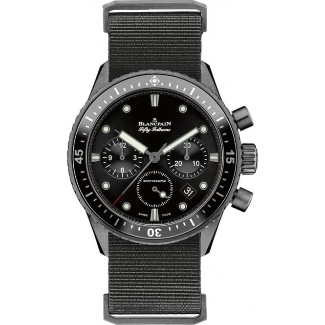 BlancPain Fifty Fathoms Bathyscaphe Flyback Chronograph Black Ceramic Black Bezel / Black Dial NATO Strap Watch
