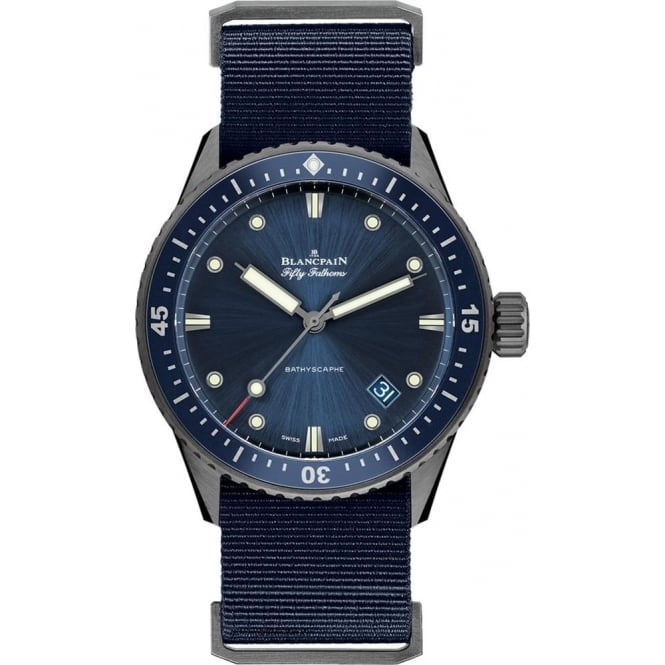 BlancPain Fifty Fathoms Bathyscaphe Grey Ceramic Automatic Blue Bezel / Blue Dial NATO Strap Watch