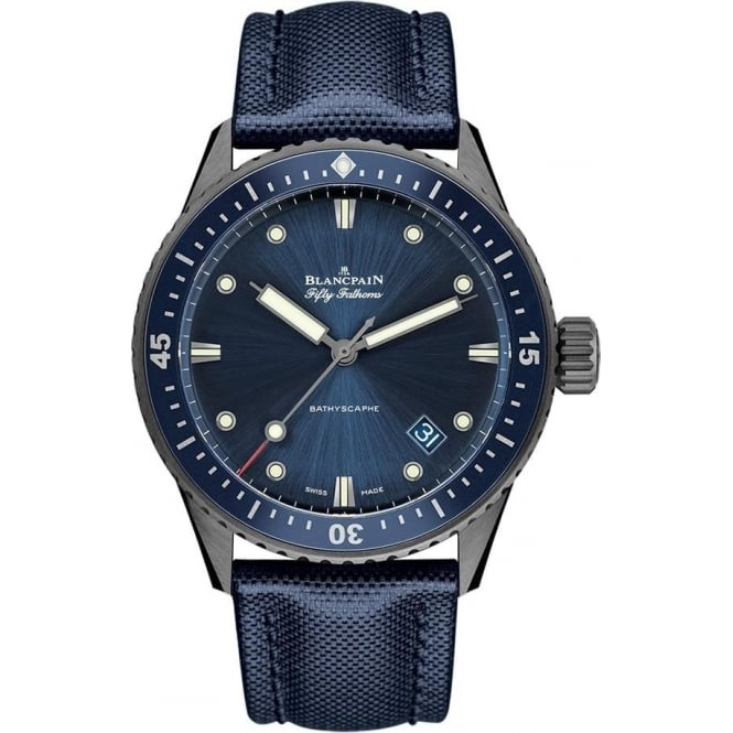 BlancPain Fifty Fathoms Bathyscaphe Grey Ceramic Automatic Blue Bezel / Blue Dial Strap Watch