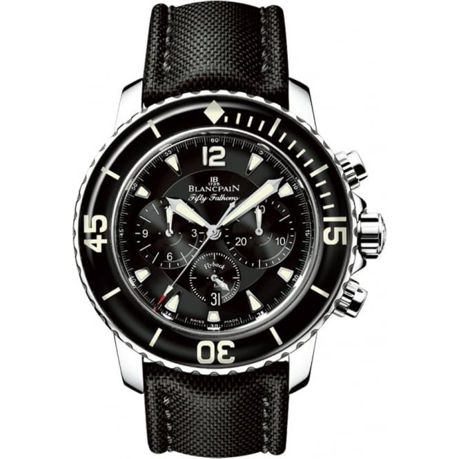 BlancPain Fifty Fathoms Flyback Chronograph Automatic Black Dial Strap Watch