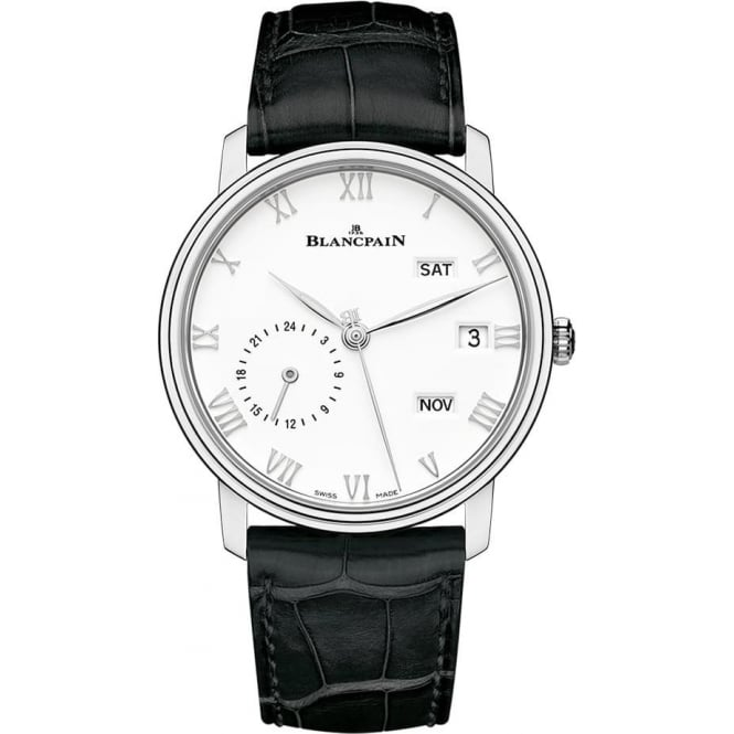 BlancPain Villeret Annual Calendar GMT Automatic White Dial Strap Watch