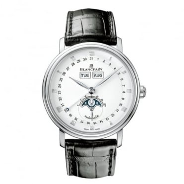BlancPain Villeret Complete Calendar 38mm Automatic White Dial Strap Watch