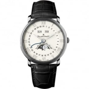 BlancPain Villeret Complete Calendar Automatic White Dial Strap Watch