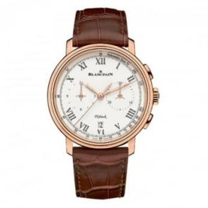 BlancPain Villeret Flyback Chronograph Pulsometre 18K Rose Gold Automatic White Dial Strap Watch