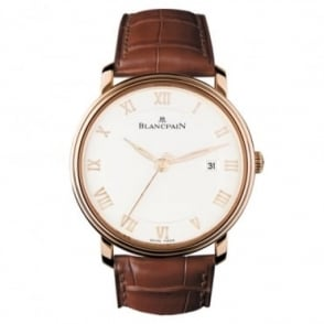 BlancPain Villeret Ultra-Slim 18K Rose Gold Automatic Silver Dial Strap Watch