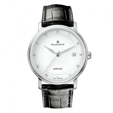 BlancPain Villeret Ultra-Slim Automatic White Dial Strap Watch