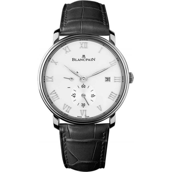 BlancPain Villeret Ultra-Slim Handwound White Dial Strap Watch