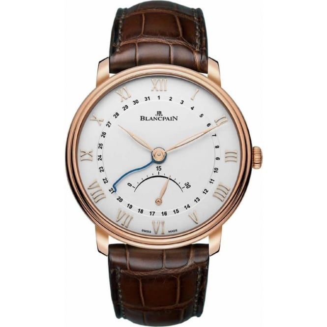 BlancPain Villeret Ultra-Slim Pointer Date 18K Rose Gold Automatic Silver Dial Strap Watch