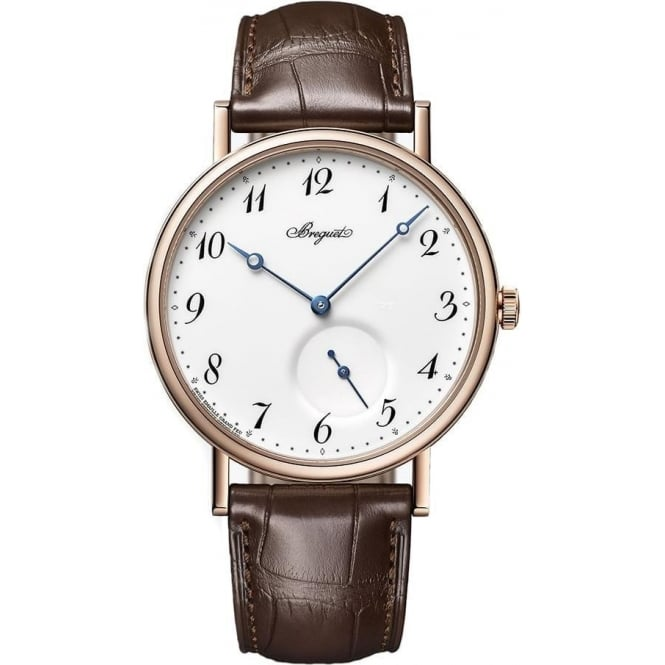 Breguet Classique 18K Rose Gold Automatic White Enamel Dial Strap Watch