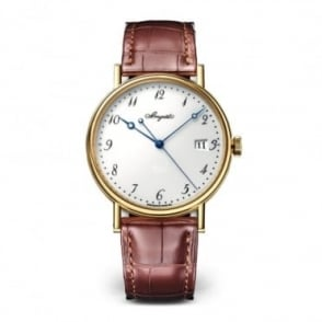 Breguet Classique 18K Yellow Gold Automatic White Enamel Dial Strap Watch