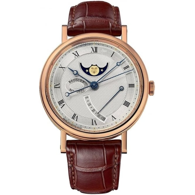 Breguet Classique Moonphase 18K Rose Gold Automatic Silver Dial Strap Watch