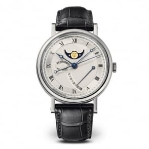 Breguet Classique Moonphase 18K White Gold Automatic Silver Dial Strap Watch