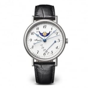 Breguet Classique Moonphase 18K White Gold Automatic White Enamel Dial Strap Watch