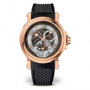Breguet Gentlemen's 18K Rose Gold Marine Dual Time Automatic Black Dial Strap Watch