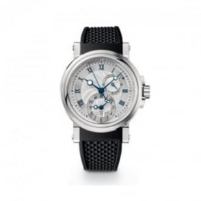 Breguet Gentlemen's Marine Dual Time Automatic Silver Dial Strap Watch