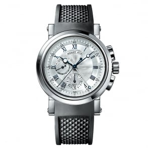 Breguet Marine 18K White Gold Automatic Chronograph Silver Dial Strap Watch