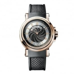 Breguet Marine Big Date 18K Rose Gold Automatic Black Dial Strap Watch