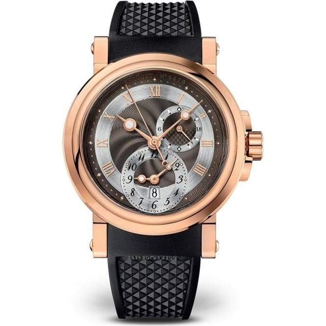 Breguet Marine GMT 18K Rose Gold Automatic Black Dial Strap Watch