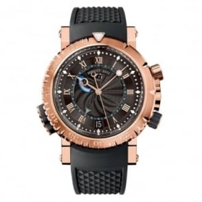 Breguet Marine Royale Alarm 18K Rose Gold Black Dial Strap Watch