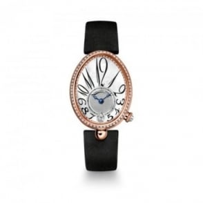 Breguet Reine De Naples 18K Rose Gold Automatic Diamond Bezel / Mother of Pearl Dial Strap Watch
