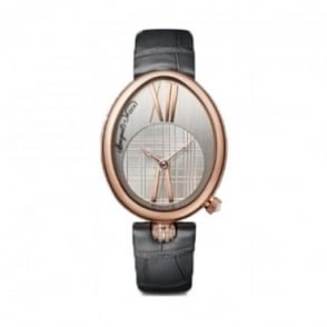 Breguet Reine De Naples 18K Rose Gold Automatic Silver Dial Strap Watch