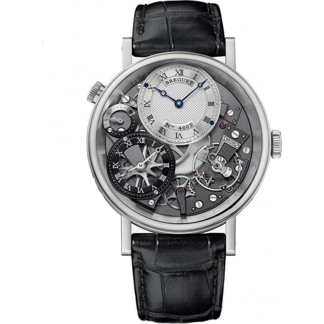 Breguet Tradition GMT 18K White Gold Hand-wound Strap Watch