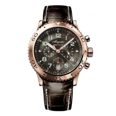 Breguet Type XXI 18K Rose Gold Automatic Flyback Chronograph Anthracite Dial Strap Watch