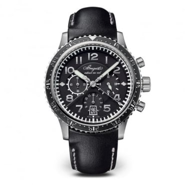 Breguet Type XXI Titanium Automatic Flyback Chronograph Black Dial Strap Watch