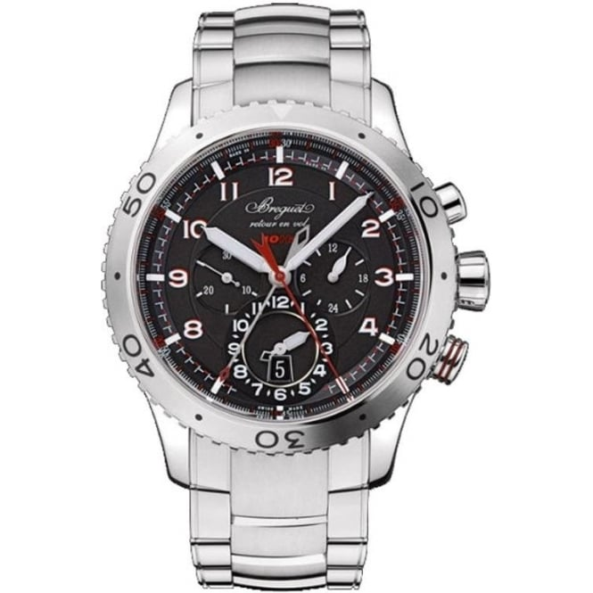 Breguet Type XXII Automatic Flyback Chronograph Black Dial Bracelet Watch