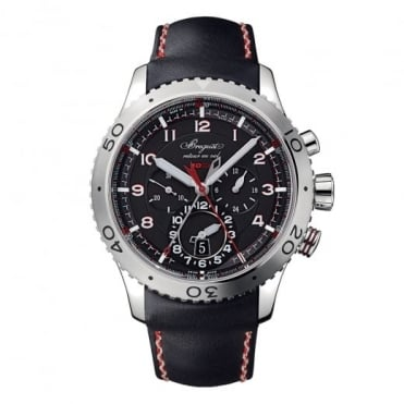 Breguet Type XXII Automatic Flyback Chronograph Black Dial Strap Watch