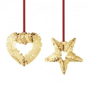 Georg Jensen Christmas Collectible Gold Plated Heart & Star Mistletoe Bauble set