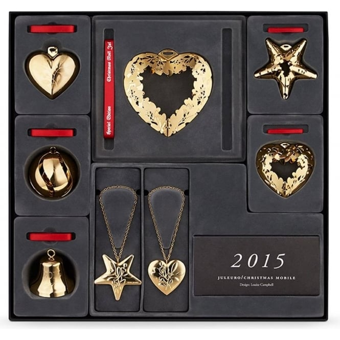 """Georg Jensen Christmas Collectible Yellow Gold Plate """"Unites with Mistletoe"""" 8 piece Decoration Giftset"""
