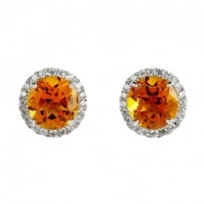 Owen & Robinson Citrine & Diamond 18ct White Gold Cluster Stud Earrings