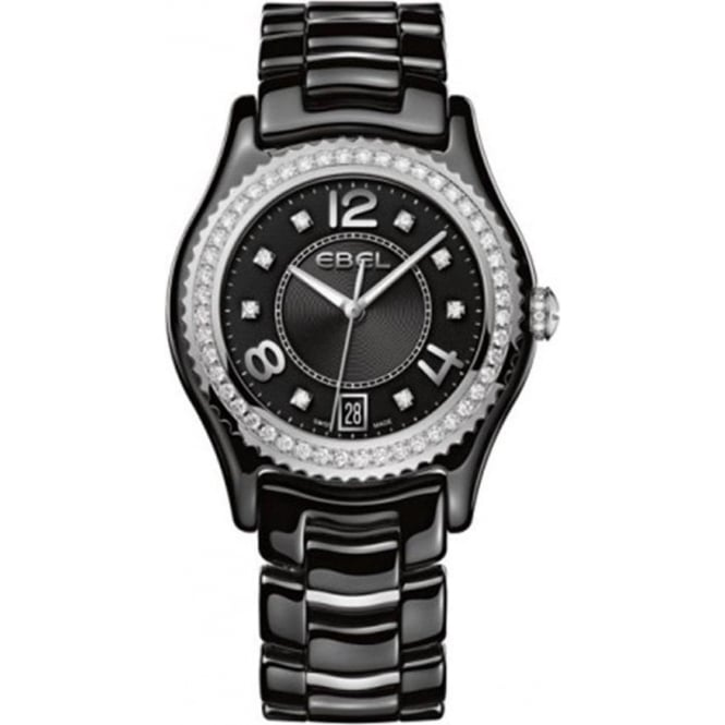 Ebel Ladies Black Ceramic X-1 Diamond Bezel / Diamond Dot / Black Dial Bracelet Watch