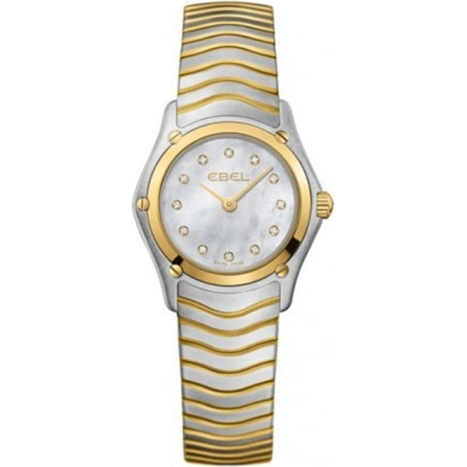 Ebel Ladies Classic Wave Steel & 18K Yellow Gold Diamond Dot / Mother of Pearl Dial Bracelet Watch