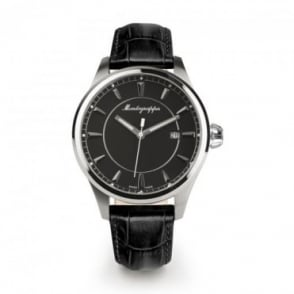 Montegrappa Watches Fortuna Black Dial Strap Watch