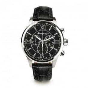 Montegrappa Watches Fortuna Chronograph Black Dial Strap Watch