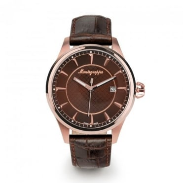 Montegrappa Watches Fortuna Rose Gold Brown Dial Strap Watch