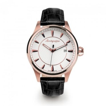 Montegrappa Watches Fortuna Rose Gold White Dial Strap Watch