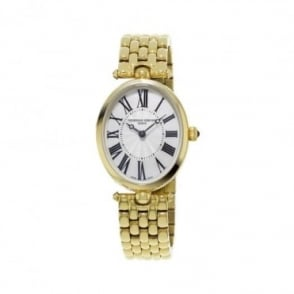 Frederique Constant Classics Art Deco Yellow Gold Silver Dial Bracelet Watch