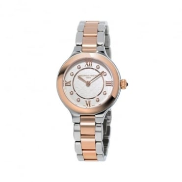Frederique Constant Classics Delight Steel & Rose Gold Diamond Dot / Silver Dial Bracelet Watch
