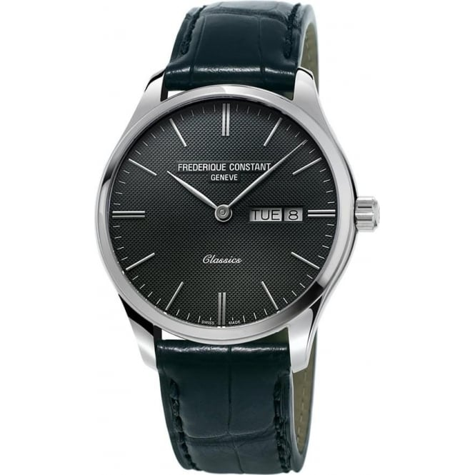 Frederique Constant Classics Quartz Day-Date Grey Dial Strap Watch