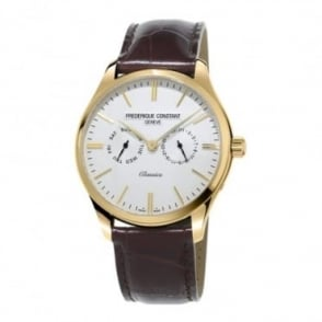 Frederique Constant Classics Quartz Yellow Gold Day-Date Silver Dial Strap Watch